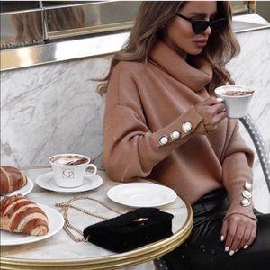 Zara Camel Funnel Cowl Neck Pearl Cuff Sweater